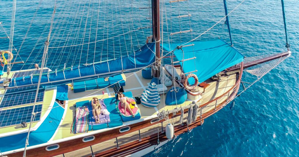 Luxury Gulet Yacht Princess Funda I Enjoy the sn on the sun mattress aboard of Princess Funda Yacht