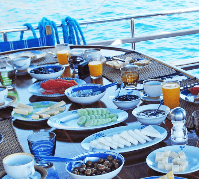 Good Morning Breakfast on Board of exclusive Princess Funda Yacht