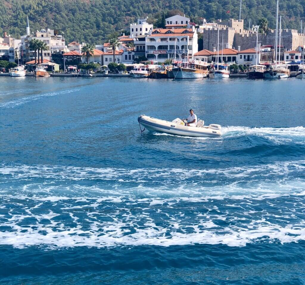 Speed Boat of Luxury Princess Funda Gulet Yacht at Marmaris Harbor Turkey