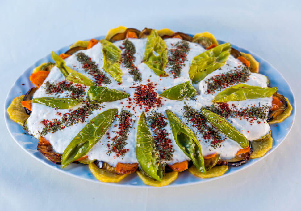 Turkish Cuisine Yogurtlama I fried organic vegetable with garlic I Joghurt sauce I aboard Princess Funda Yacht